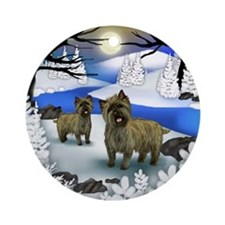CAIRN TERRIER DOGS FROZEN RIVER Ornament (Round)