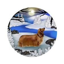 LONG HAIRED DACHSHUND DOG WINTER Ornament (Round)
