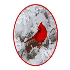 Red Cardinal Bird Snowy Yule Tree Oval Ornament