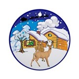 Winter Log Cabin Christmas Ornament (Round)