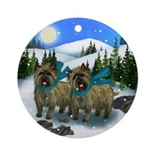 CAIRN TERRIER DOGS WINTER DAY Ornament (Round)