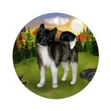 BRINDLE AKITA DOG FALL SUNSET Ornament (Round)