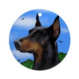 DOBERMAN PINSCHER DOG Ornament (Round)