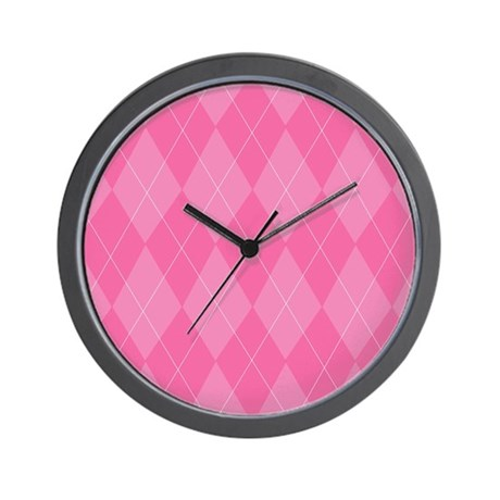 Pink Argyle Wall Clock