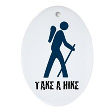 Take A Hike Blue Oval Ornament