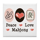 Peace Love Mahjong Tile Coaster