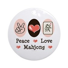 Peace Love Mahjong Ornament (Round)