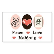 Peace Love Mahjong Rectangle Sticker 10 pk)