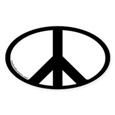 Peace Symbol Oval Decal (b&w)