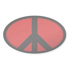 Peace Symbol Oval Decal (red)
