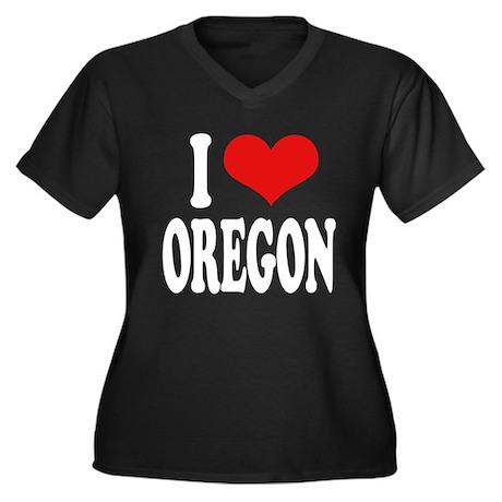 I Love Oregon Women's Plus Size V-Neck Dark T-Shir