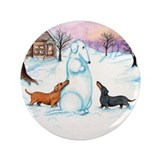 "Snow Dachshunds 3.5"" Button"