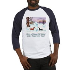 Snow Dachshunds Winter Message Baseball Jersey