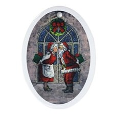 The Claus Kiss Oval Ornament
