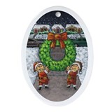 Elves and Wreath Oval Ornament