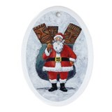 Santa and his Toy Sack Oval Ornament