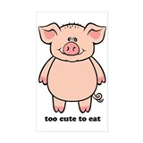 Too Cute To Eat Pig Rectangle Decal