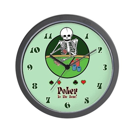 Skeleton Poker Player Wall Clock