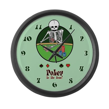 Skeleton Poker Player Large Wall Clock