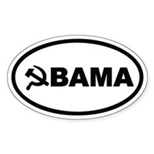 Obama Hammer & Sickle Oval Sticker (50 pk)