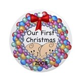 1st Christmas Twins & Wreath Ornament 2008