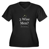 Three Wise Men Women's Plus Size V-Neck Dark T-Shi