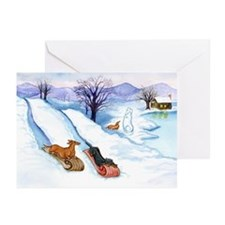 Sledding Dachshunds Greeting Cards (Pk of 20)