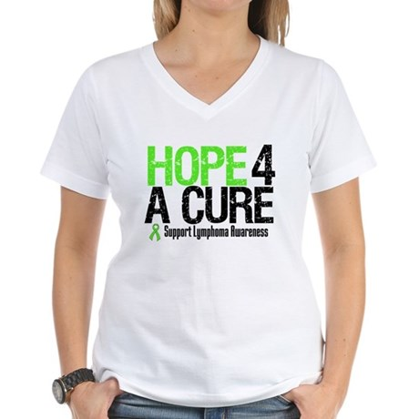 Lymphoma Hope 4 a Cure Women's V-Neck T-Shirt