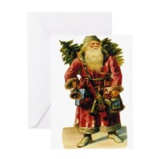 Vintage Santa with Bell Greeting Card