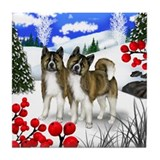AKITA DOGS WINTER BERRIES Tile Coaster