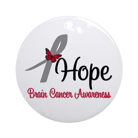 HopeButterfly Brain Cancer Ornament (Round)