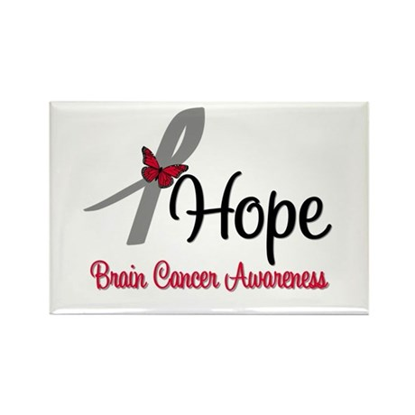 HopeButterfly Brain Cancer Rectangle Magnet (10 pa