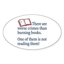 Book Burning - Oval Decal