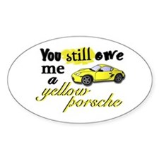 Yellow Porsche Oval Decal