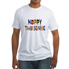 Colorful Happy Thanksgiving Fitted T-Shirt