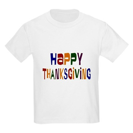 Colorful Happy Thanksgiving Kids Light T-Shirt