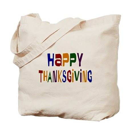 Colorful Happy Thanksgiving Tote Bag