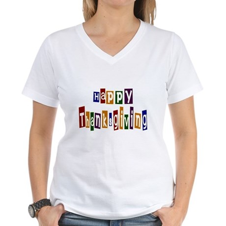 Fun Happy Thanksgiving Women's V-Neck T-Shirt