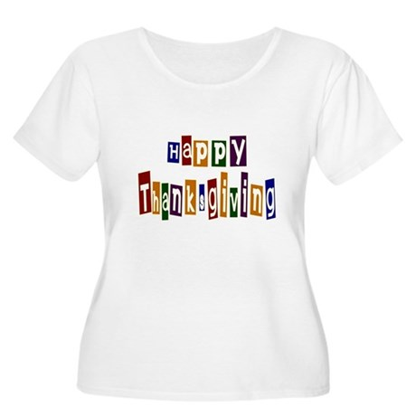 Fun Happy Thanksgiving Women's Plus Size Scoop Nec