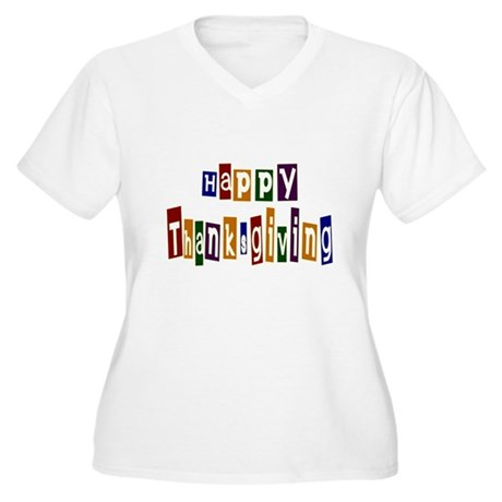 Fun Happy Thanksgiving Women's Plus Size V-Neck T-