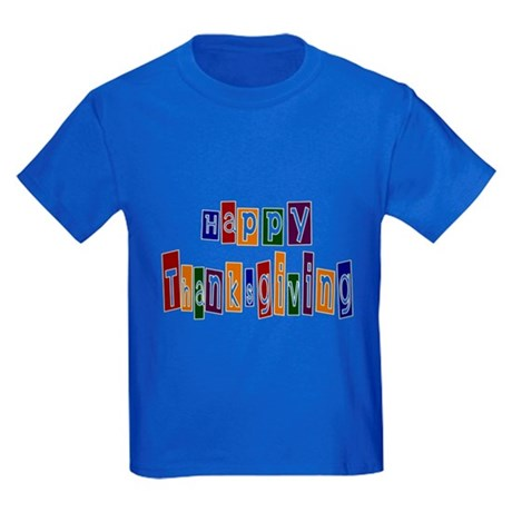 Fun Happy Thanksgiving Kids Dark T-Shirt