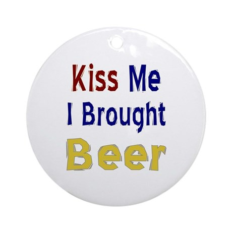 Funny Thanksgiving Beer Ornament (Round)