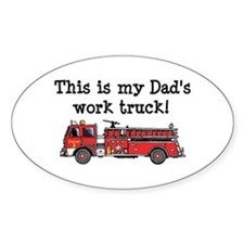 My Dad's Fire Truck Oval Stickers