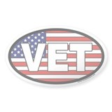 Veteran VET Oval Sticker with American Flag