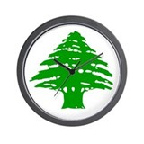 Green Cedar Tree Wall Clock