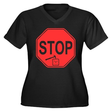 Stop! Hammer Time! Womens Plus Size V-Neck Dark T