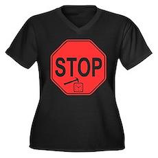 Stop! Hammer Time! Womens Plus Size V-Neck Dark T