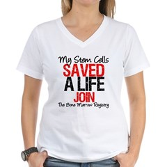 My Stem Cells Saved a Life (G-Red) Women's V-Neck