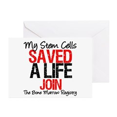 My Stem Cells Saved a Life (G-Red) Greeting Cards