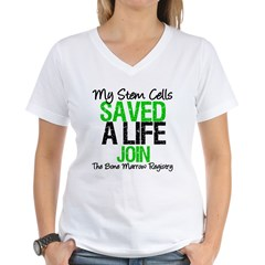 My Stem Cells Saved a Life (G-Grn) Women's V-Neck